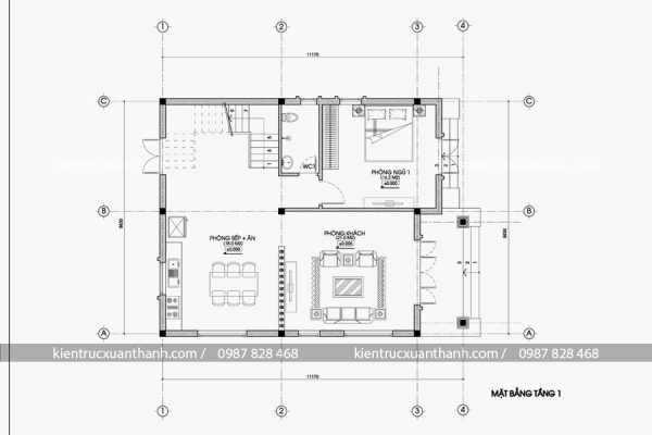 mặt bằng nhà biệt thự 2 tầng BT18296