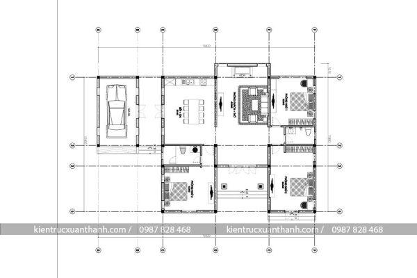 mặt bằng thiết kế biệt thự 1 tàng BT18147