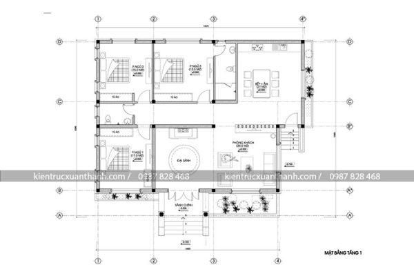 mặt bằng thiết kế biệt thự 1 tầng BT18195