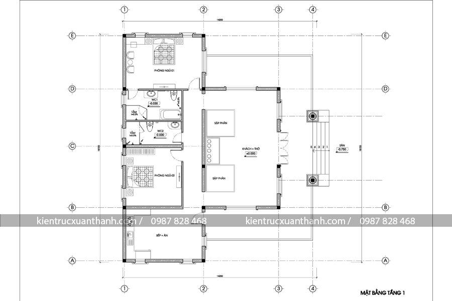 mặt bằng thiết kế biệt thự 1 tầng BT18202
