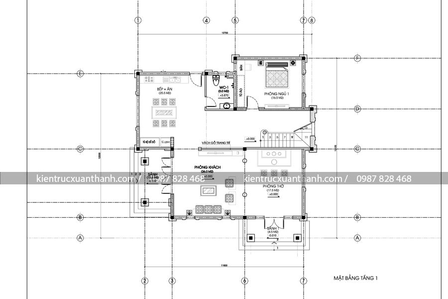 mặt bằng thiết kế biệt thự 2 tầng đẹp BT18223