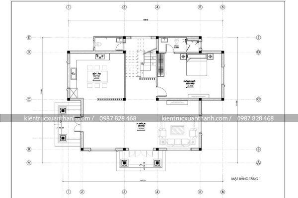 mặt bằng thiết kế biệt thự 2 tầng đẹp BT18224