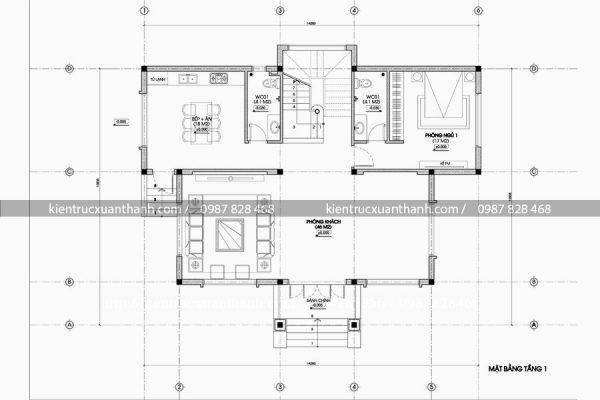 mặt bằng thiết kế biệt thự 3 tầng đẹp BT18145