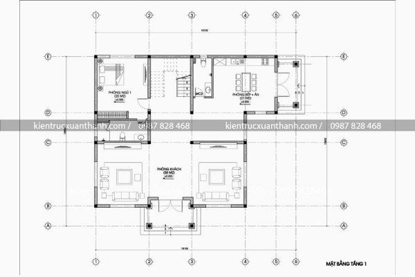 mặt bằng thiết kế biệt thự 3 tầng đẹp BT18305