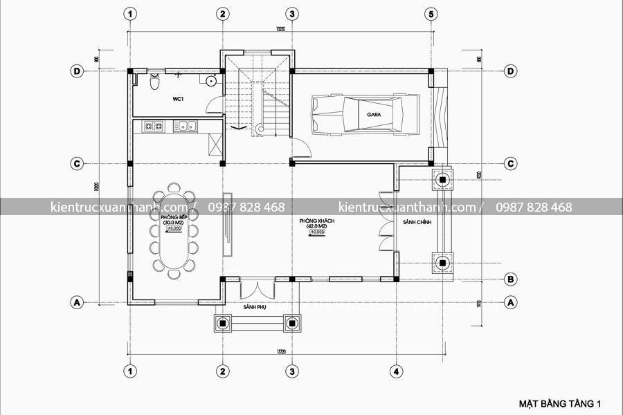 mặt bằng thiết kế biệt thự 3 tầng đẹp BT18206