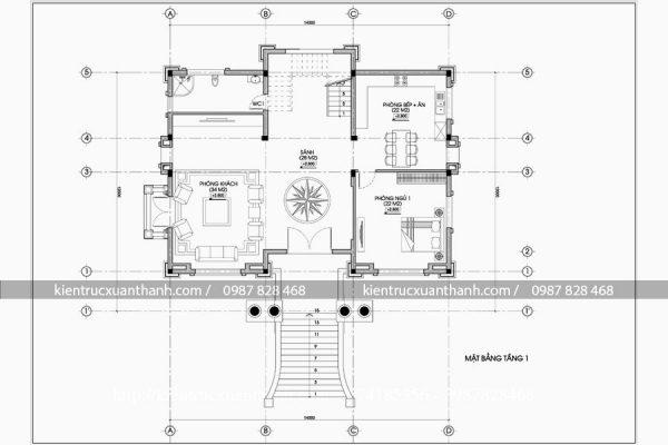 mặt bằng thiết kế biệt thự 4 tầng đẹp BT18211