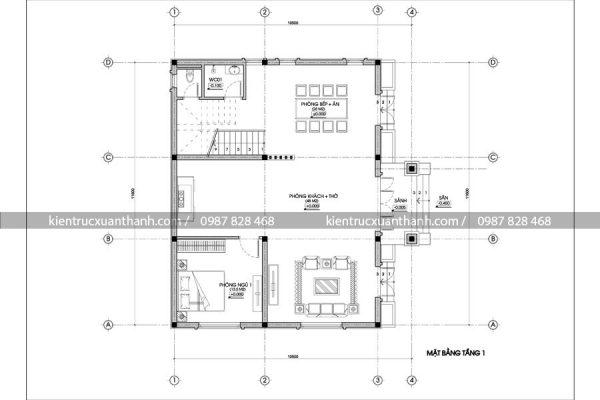 mặt bằng thiết kế nhà mái thái BT18266