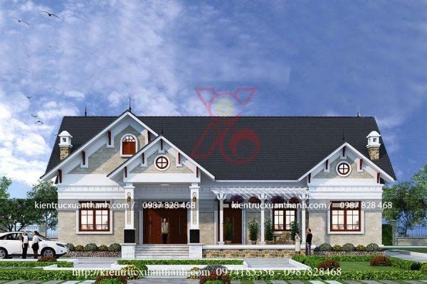 mẫu nhà biệt thự 1 tầng BT18256.1