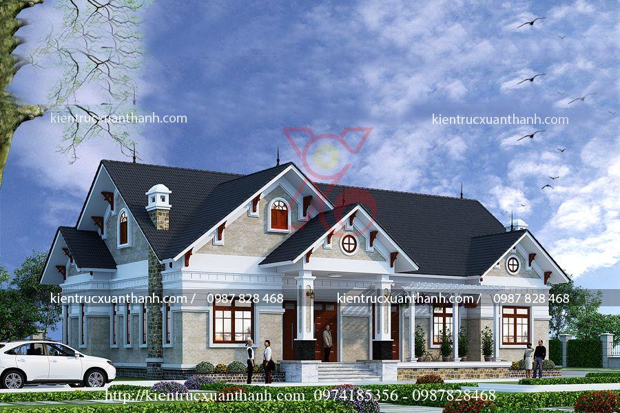 mẫu nhà biệt thự 1 tầng BT18256.2