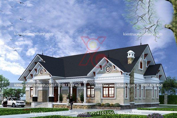 mẫu nhà biệt thự 1 tầng BT18256.3