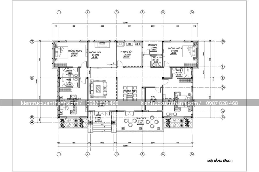 mẫu nhà biệt thự 1 tầng 256.4