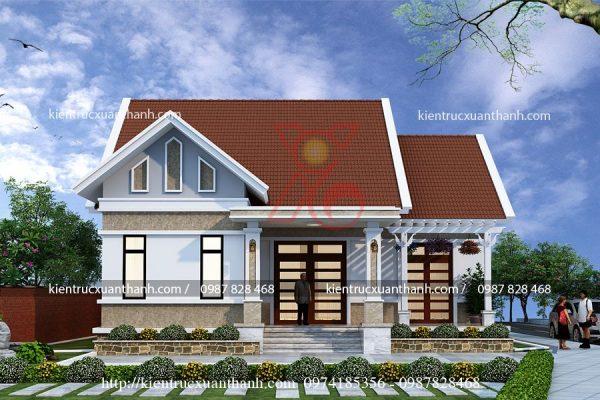 thiết kế biệt thự 1 tầng đẹp BT18258.1