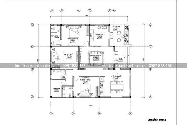 mặt bằng thiết kế biệt thự 1 tầng đẹp 258.1