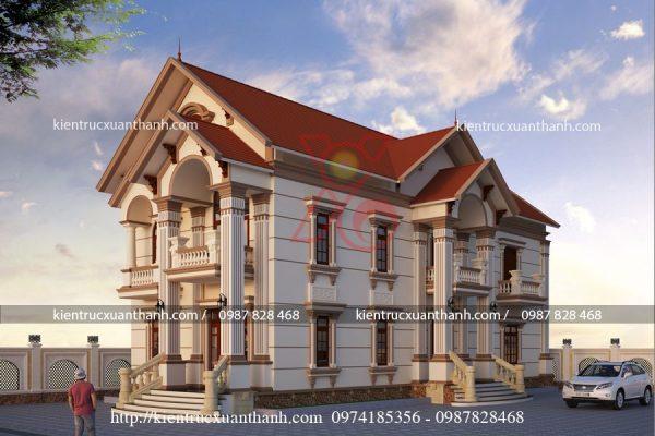 thiết kế biệt thự 2 tầng cổ điển BT18281.1
