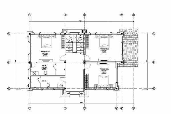 mặt bằng biệt thự cổ điển đẹp BT18240 - Ảnh 2