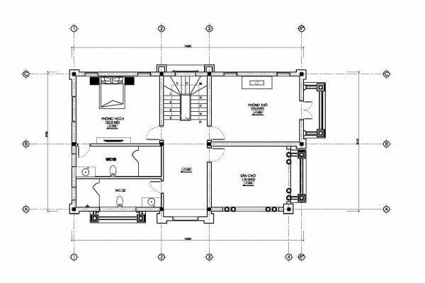 mặt bằng biệt thự cổ điển đẹp BT18240 - Ảnh 3