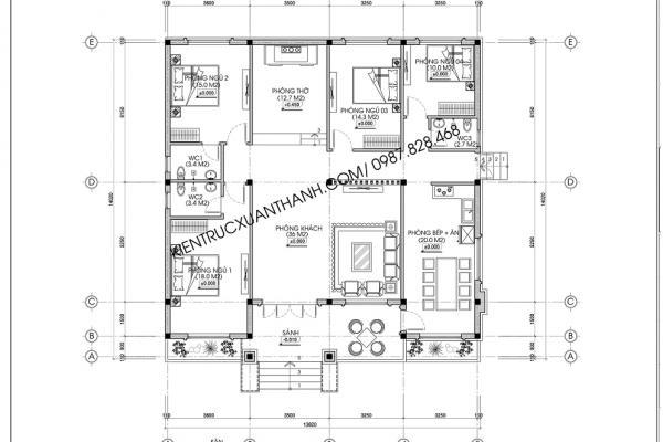 Mặt bằng biệt thự vườn 1 tầng mái thái BT18227