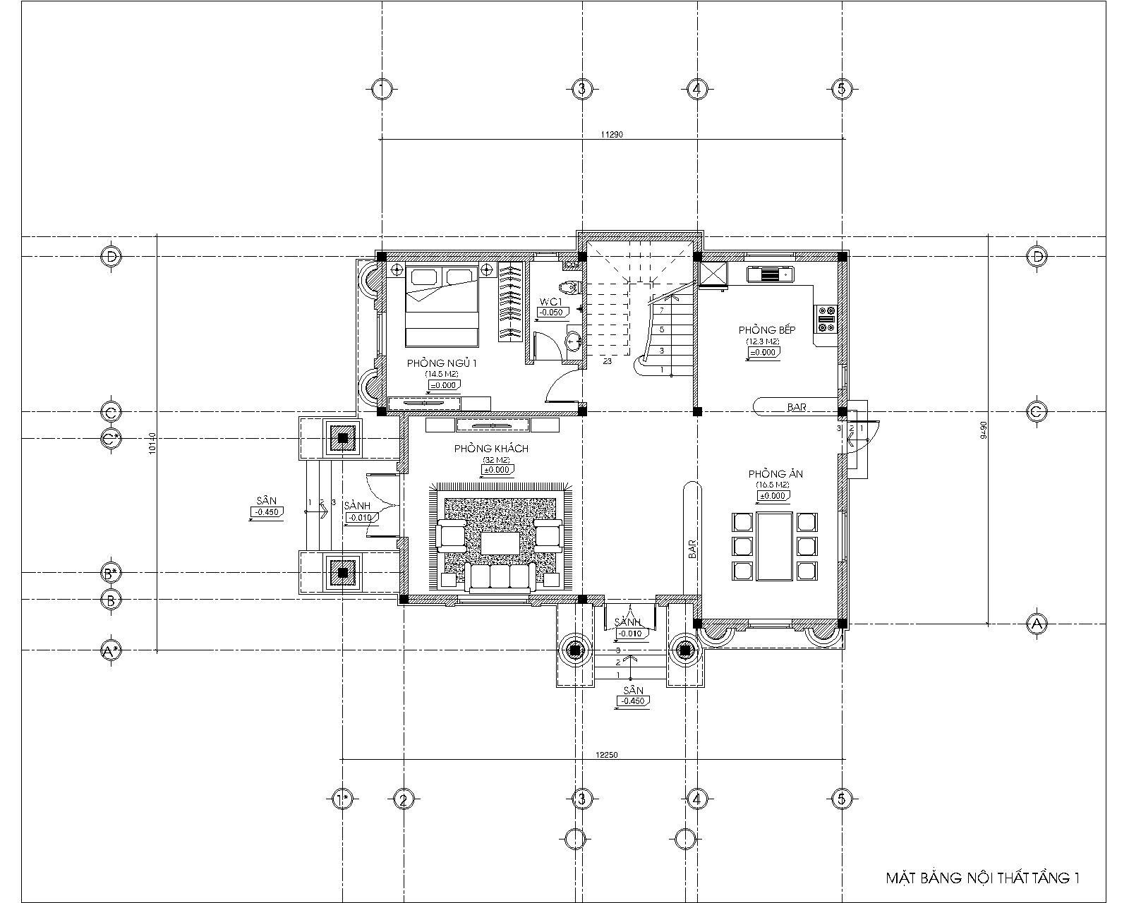 mặt bằng mẫu biệt thự 2 tầng của anh Cương