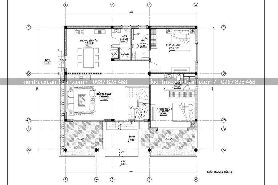 mặt bằng mẫu nhà biệt thự 2 tầng đẹp BT18285