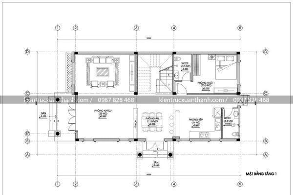 mặt bằng mẫu nhà biệt thự đẹp 2 tầng BT18291