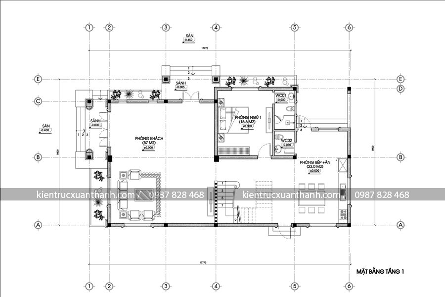 mặt bằng mẫu nhà đẹp 2 tầng BT18288