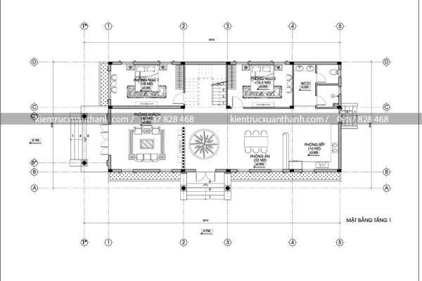 mặt bằng mẫu nhà đẹp 2 tầng BT18289