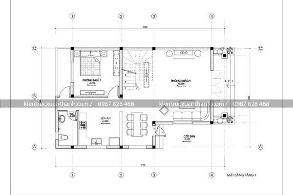 mặt bằng thiết kế biệt thự 2 tầng đẹp BT18229
