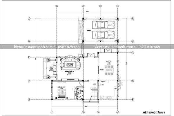 mặt bằng thiết kế biệt thự 2 tầng đẹp BT18234