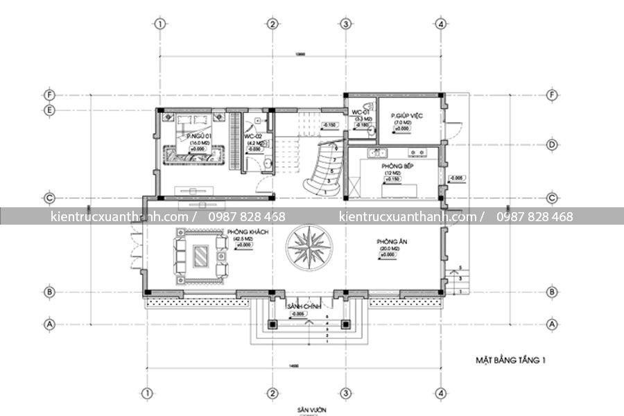 mặt bằng thiết kế biệt thự vườn 2 tầng BT18294