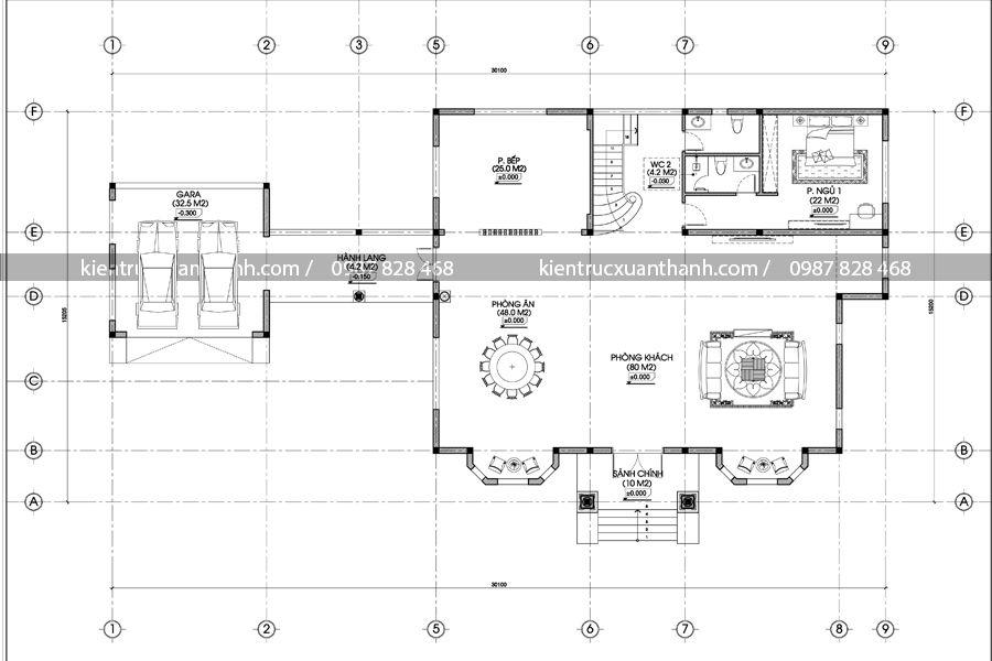 mặt bằng thiết kế nhà biệt thự BT18272