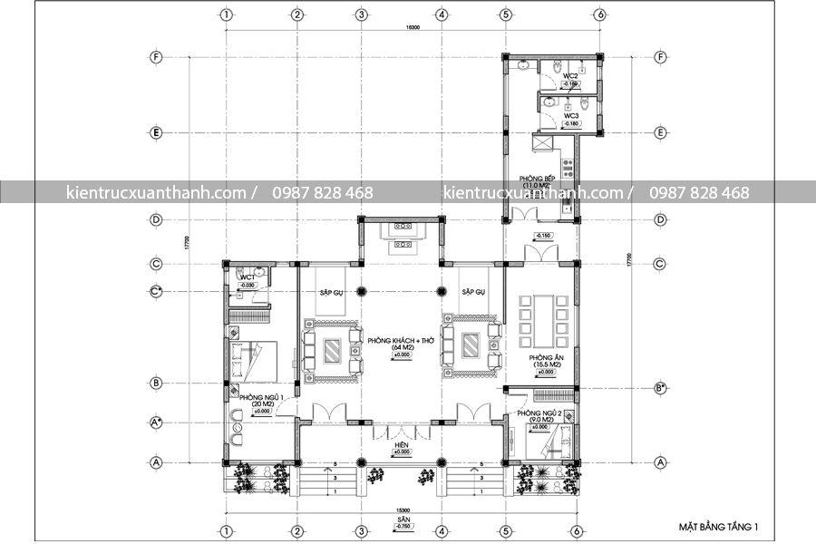 mẫu nhà 1 tầng 254.1