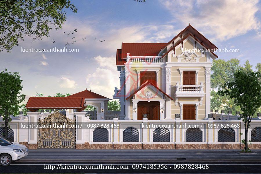 mẫu nhà biệt thự 2 tầng đẹp BT18276.1