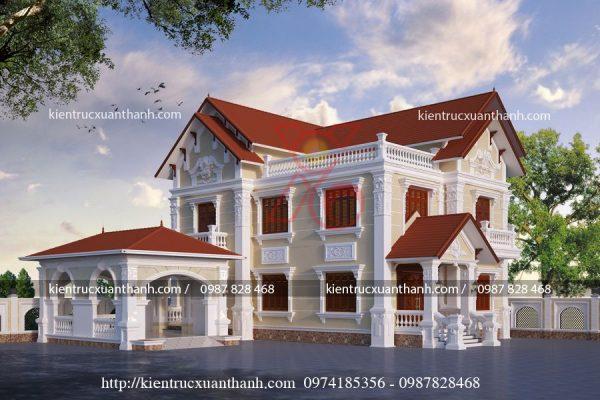 mẫu nhà biệt thự 2 tầng đẹp BT18276.2