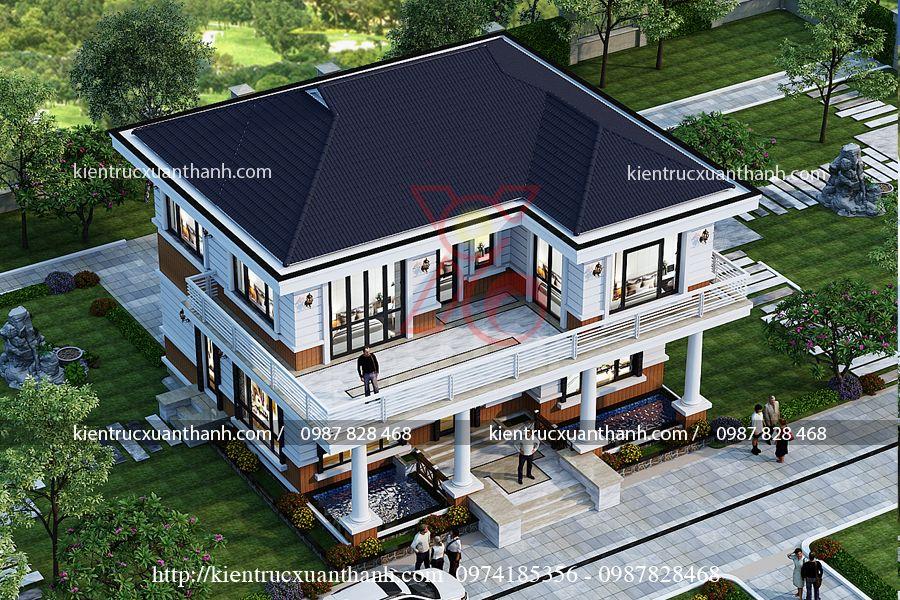 mẫu nhà biệt thự 2 tầng đẹp BT18285 - Ảnh 1
