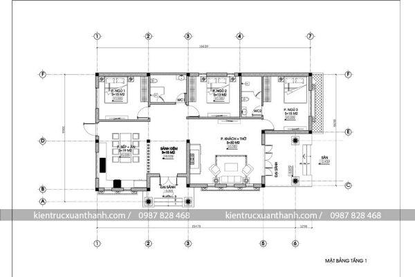 mặt bằng mẫu nhà đẹp 1 tầng 257.2