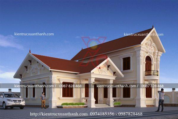 thiết kế biệt thự 1 tầng cổ điển BT18250.1