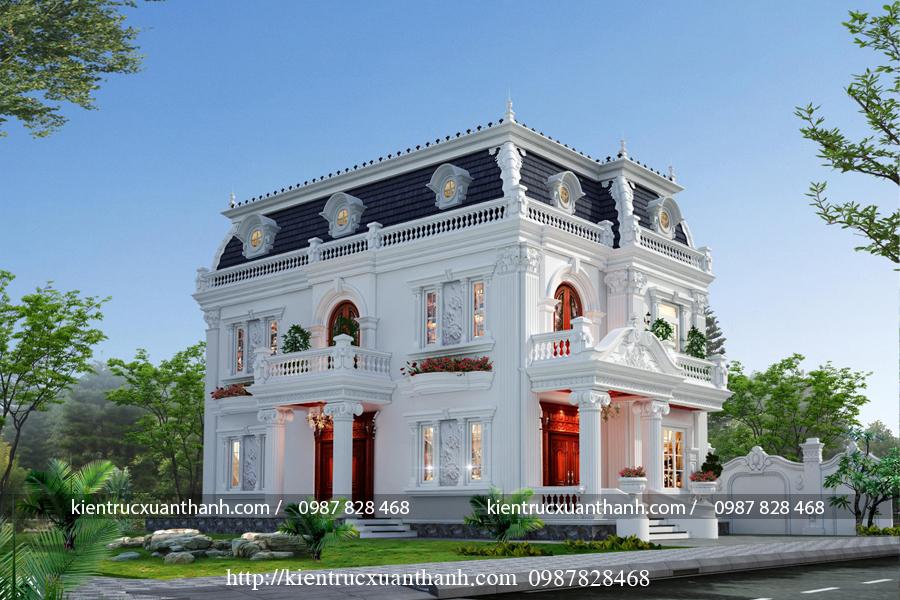 thiết kế biệt thự 2 tầng tân cổ điển đẹp BT18229 - Ảnh 1