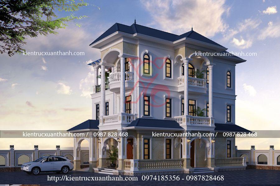 thiết kế biệt thự 3 tầng tân cổ điển BT18459 - Ảnh 1