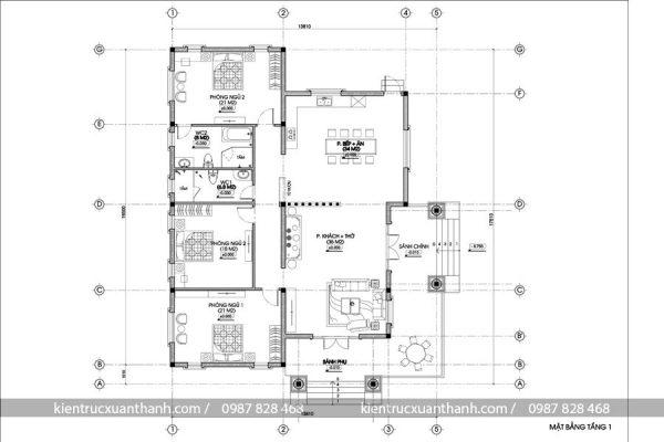 mặt bằng mẫu thiết kế nhà 1 tầng đẹp 249.1