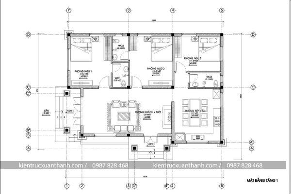 thiết kế nhà biệt thự 1 tầng 247.1