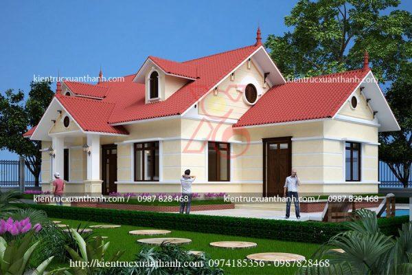 thiết kế nhà biệt thự 1 tầng BT18248.1