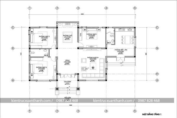 thiết kế nhà biệt thự 1 tầng 248.1