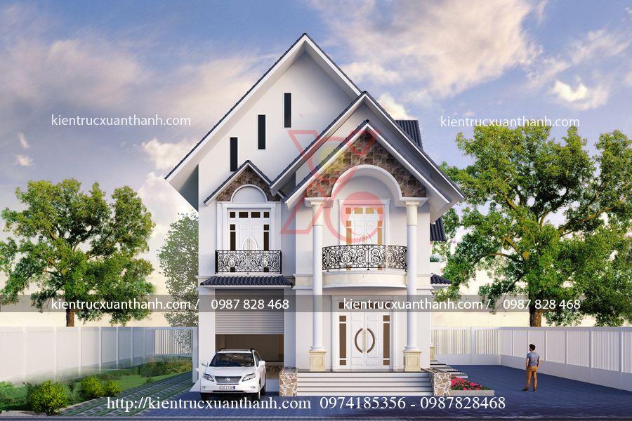 thiết kế nhà đẹp tân cổ điển 2 tầng BT18278.1