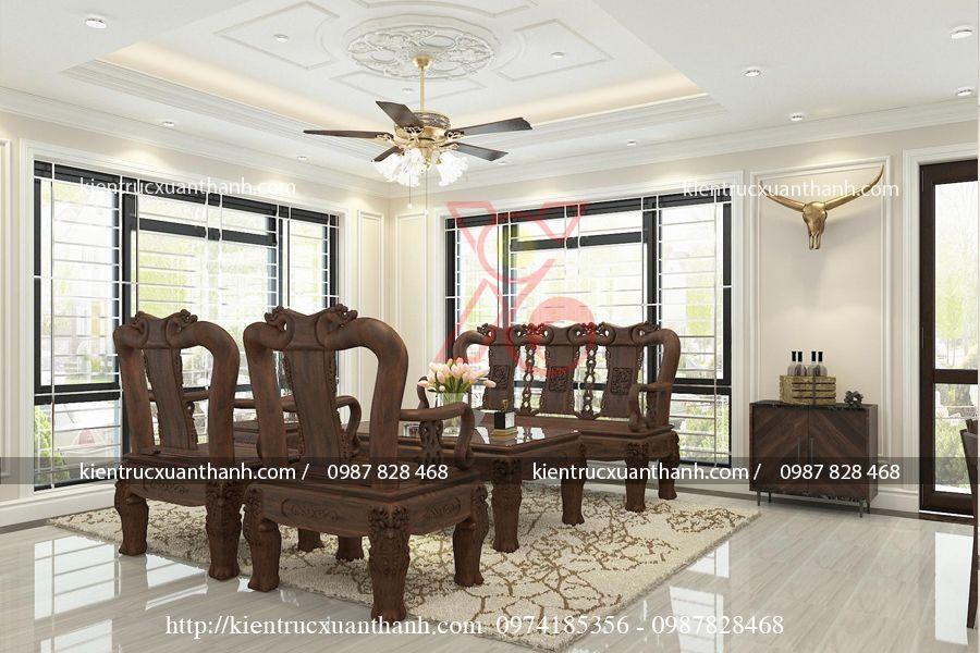 thiết kế nội thất phòng khách tân cổ điển 47.2