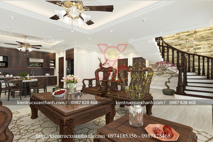 thiết kế nội thất phòng khách tân cổ điển 47.3