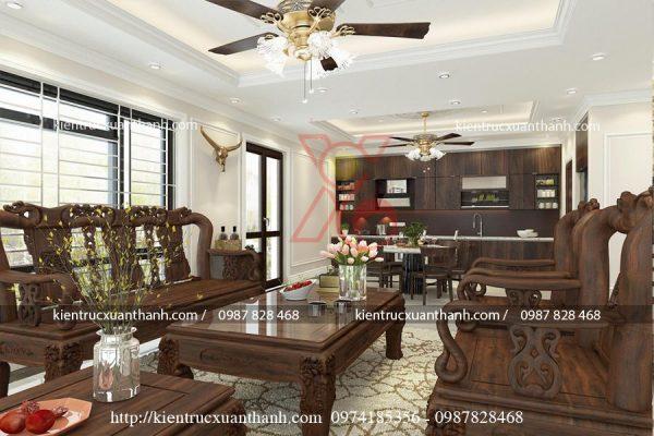 thiết kế nội thất phòng khách tân cổ điển 47.4
