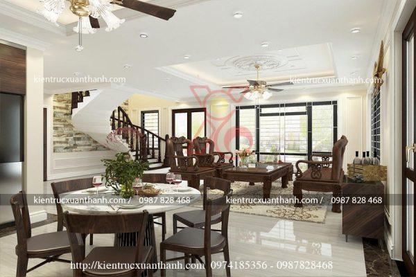 thiết kế nội thất phòng khách tân cổ điển 47.5