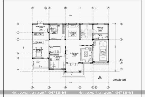 mặt bằng biệt thự 2 tầng mái thái BT18318