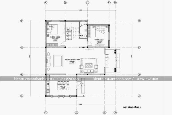 mặt bằng biệt thự 2 tầng mái thái BT18319