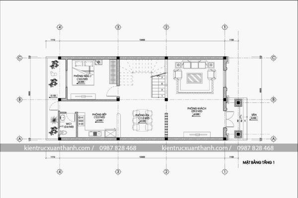 mặt bằng biệt thự tân cổ điển 3 tầng đẹp BT18471